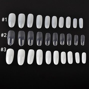 100Pcs Fake Nail Art Tips Stiletto Oval Shape Full Cover Manicure Nail Tips DIY Nail Art Tools 3 Colors Available