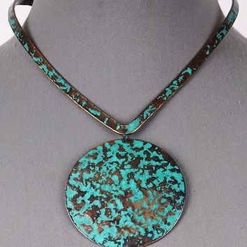 "14"" patina pendant open cuff choker collar necklace"