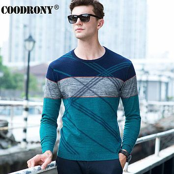 High Quality 100% Real Merino Wool Sweater Men Autumn Winter Knitted Cashmere Sweaters Fashion Striped O-Neck Pullover Male 6324