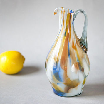 Spatter Glass Pitcher Vintage Blue Orange, Soviet Glass Jug Vase, Multicolored Art Glass Vase Orange Blue swirls, Handmade Glass Jar Decor