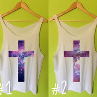 Nebula Cross Printed Tee Shirt Tank