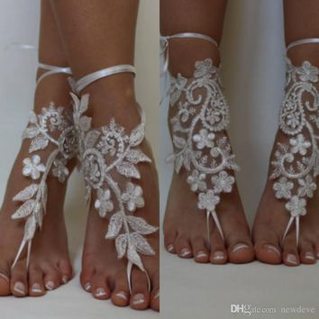 Absolutely Gorgeous Shoes For Beach Weddings Delicate Lace Applqiues Bead Sequin