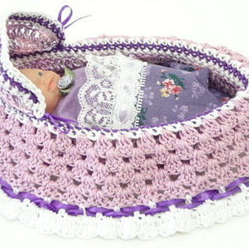 handmade crochet cradle purse travel toy church purse purple varigated drawstring bag BG96