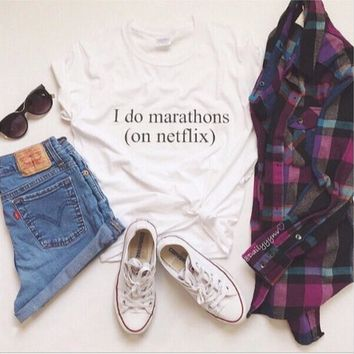 I Do Marathons On Netflix Funny T-Shirts