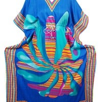 Mogul Interior Womens Blue Beach Caftan Kimono Resort Wear Bikini Coverup OneSize: Amazon.ca: Clothing & Accessories