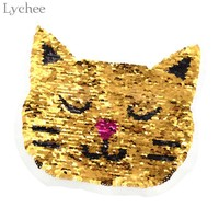 Lychee 1pc Cat Reversible Change Color Sequins Patches DIY Sew On Patches For Clothes Applique Clothing Decoration
