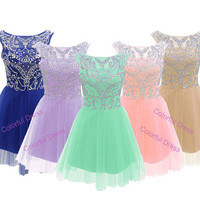 Sexy bateau Beading Rhinestones Empire Waist Tulle Mini-Length Cocktail dresses/prom dress/homecoming dress A113