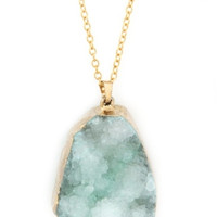 Long Druzy Pendant Necklace - Mint or Blue