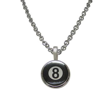 Flat Eight Ball Billiards Pendant Necklace