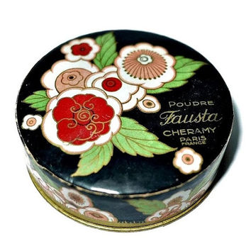 20s CHERAMY PARIS Powder Box UNUSED Art Deco Fausta Poudre Makeup 1920s French Face Powder Tin Vintage Vanity Beauty Collector Antique Gift