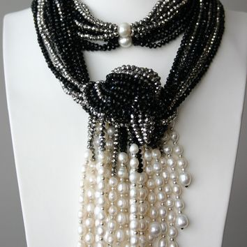 Grey Black Crystal And White Freshwater Pearl Necklace