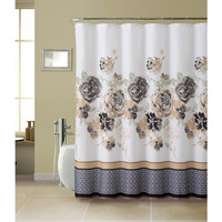 Shower Curtain- 13 Piece With Rollerball Hook- Tabitha Set