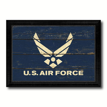 US Air Force Military Flag Vintage Canvas Print with Black Picture Frame Home Decor Wall Art Decoration Gift Ideas