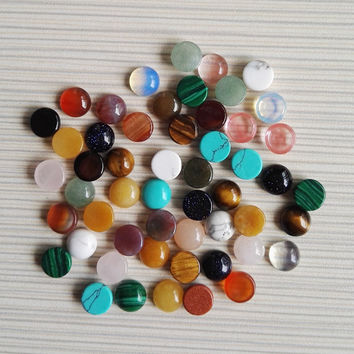 natural stone beads mixed 8x8 MM 50pcs/lot CAB CABOCHON round stone beads 2016 fashion DIY Jewelry Accessories Free shipping