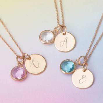 Personalised Initial Birthstone Necklace