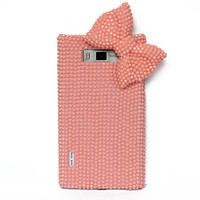 Pink phone case - Pink rhinestones phone case Bow phone case- various smartphones