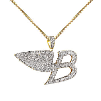 "Angel Wings Luxury Car Logo B Pendant Iced Out 14k Gold Finish Free 24"" Chain"