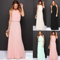 Sexy Women's Chiffon Pleated Long Maxi Boho Formal Evening Party Ball Prom Dress [7957824775]