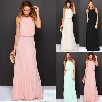 Sexy Women's Chiffon Pleated Long Maxi Boho Formal Evening Party Ball Prom Dress [8424253575]