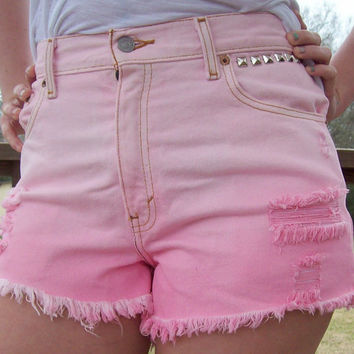 Dip Dyed Distressed High Waisted Studded Shorts by DenimAndStuds