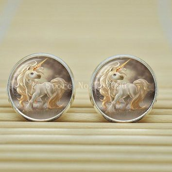 Unicorn Earrings Stud Design Long Hair Graphic Glass Cabochon Silver or Bronze Color Metal 1 Pair