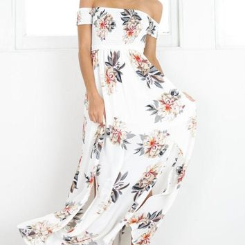 MDIGMS9 Print Hot Sale Wrap Floral Prom Dress One Piece Dress [10016879437]