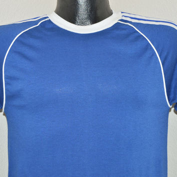 70s Blue Stedman Striped Jersey Blank t-shirt Small