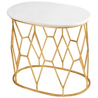 Telex Gold Leaf & White Marble Oval Accent Table by Cyan Design