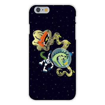 Apple iPhone 6 Custom Case White Plastic Snap On - 'Rockin Space Dinolizard' Funny Dinosaur Lizard Alien Floating w/ Record Player