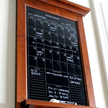 Wall Decor Hardwood Maple with Black Dry Erase Calendar Family Kitchen or Office Organizer Monthly Planner with shelf and key hooks