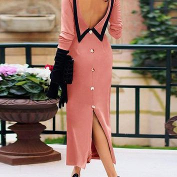 Pink Open Back Long Sleeve Chic Women Maxi Dress