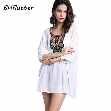 Embroidery Short Dress Women Beading Embroidery Casual Summer Dress Cotton Linen Vintage Dresses