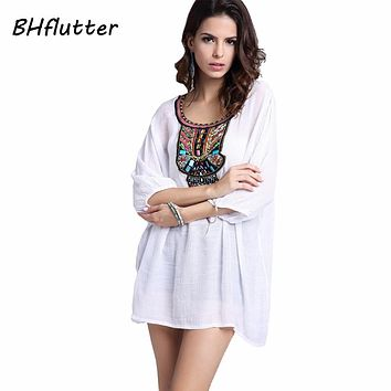 BHflutter Embroidery Short Dress Women 2017 Beading Embroidery Casual Summer Dress Cotton Linen Vintage Dresses Vestidos