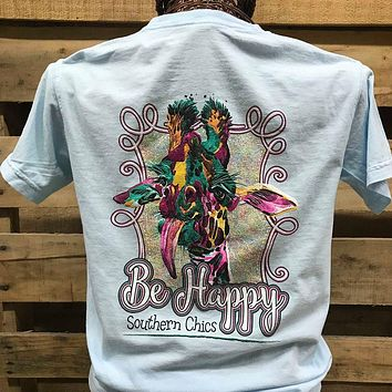 Southern Chics Be Happy Giraffe Comfort Colors Bright Unisex T Shirt