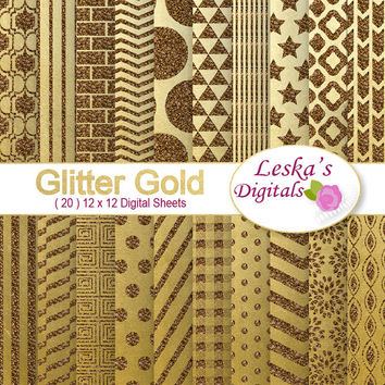 Gold glitter scrapbook paper - Glitter gold digital paper- gold scrapbook paper 12 x 12 patterns