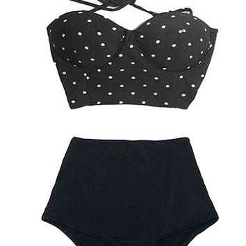 Black Polka dot dots Top and High-waist High Waisted Waist Highwaist Rise Shorts Bottom Bikini Swimsuit Swimwear Swim Bathing suit suits S M