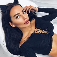 Women Simple Fashion Long Sleeve Off Shoulder Bandage Solid Color Bodycon Crop Tops