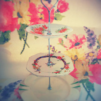 Vintage Colourful China 3 Tier Cake Stand in Colourful, Shapely Designs
