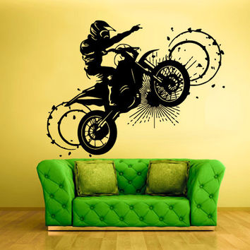rvz323 Wall Vinyl Sticker Bedroom Decal Tribal Dirt Bike Moto Motorcycle