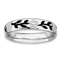 Sterling Silver Stackable Expressions Polished Enameled Flower Ring
