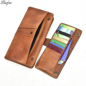 Vintage Genuine Leather Men Wallets Women functional leather Long wallet zipper pocket phone coin purse cowhide man clutch bag