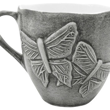 Butterfly Gray Mug, 22 Oz, Coffee Mugs