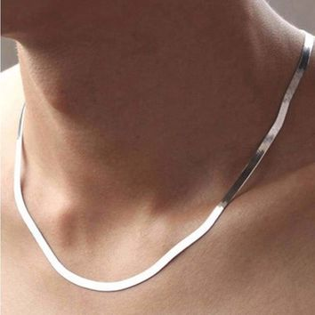 Sliver Plated Herringbone Chain Necklace
