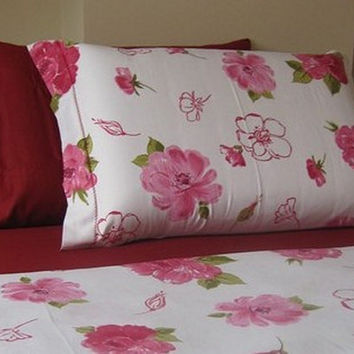 Pink cabbage rose Floral standard queen pillowcase by nurdanceyiz