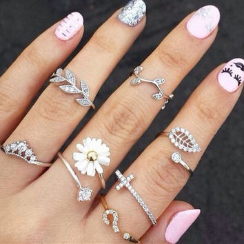 2015 New Cute Sweet Style Crystal Rhinestone 3pcs\set Leaf Crown Cross Midi Knuckle Finger Joint Rings women