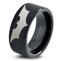 Batman Ring Comics Ring Fathers Day Gift Mens Fanatic Superhero Boys Girls Womens Jewelry Batman Ring Comics Ring Fathers Day Gift Tungsten Carbide 25