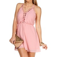 Blush Peach Deep Back Cage Tunic