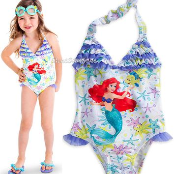 Licensed cool The LITTLE MERMAID PRINCESS ARIEL SWIMSUIT GIRLS 1PC SIZE 7/8 DISNEY STORE NEW