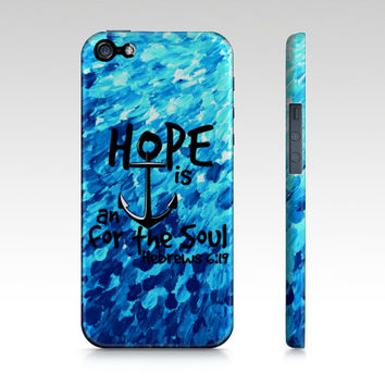 HOPE is an ANCHOR for the SOUL iPhone 4 5 5s 5c 6 Case Samsung Galaxy s3 s4 s5 Turquoise Blue Pink Purple Ombre Art Scripture Bible Verse