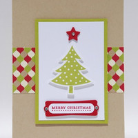 Merry Christmas Tree With Green Red Patterned Paper Handcrafted Card
